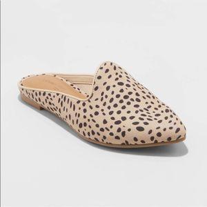 Universal Thread Faux Leather Leopard Spot Mules